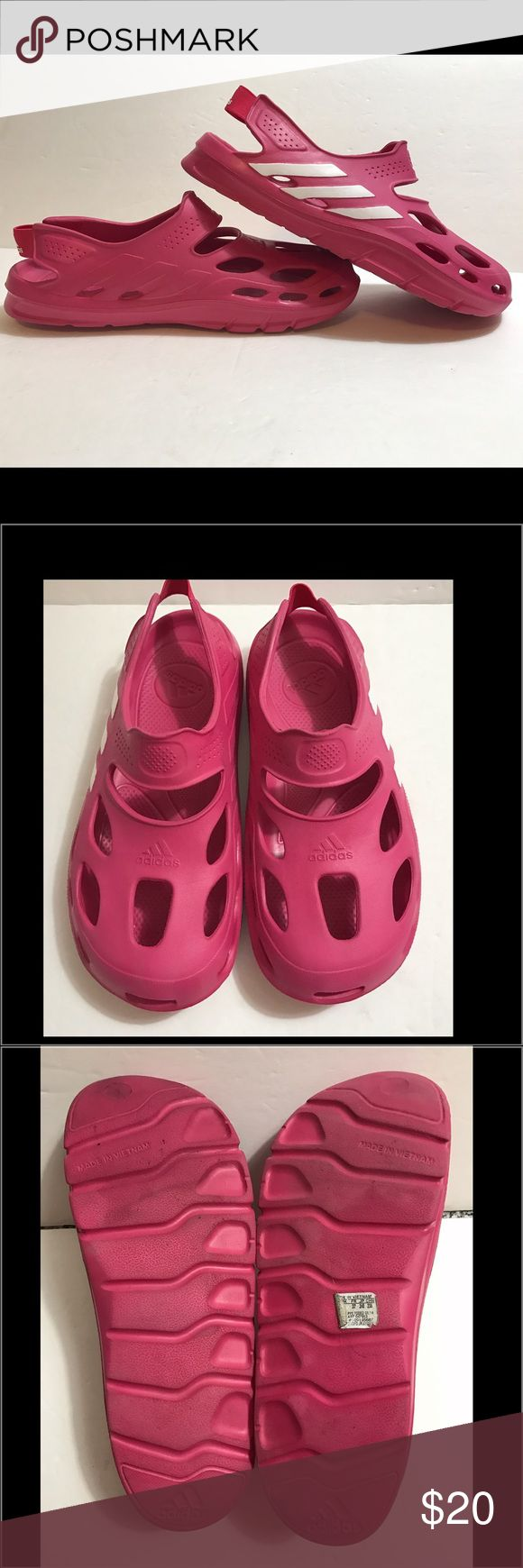 Adidas pink slide on sandals Adidas pink slide on sandals. Adorable pink adidas slide on sandals.  Closed toe, back strap.  Very lightweight and comfortable! Adidas Shoes Sandals
