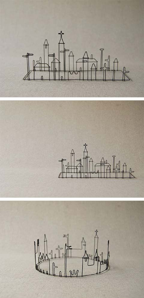 Love love love these miniature cities!  Masao Seki wire works, Five from the Ground