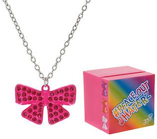 Jojo Siwa Pave Rhinestone Bow Necklace with Singing Music Box