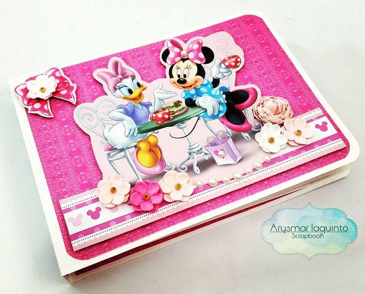 mini álbum - papéis licenciados Disney tema Chá da Minnie - criação - Arysmar Iaquinto