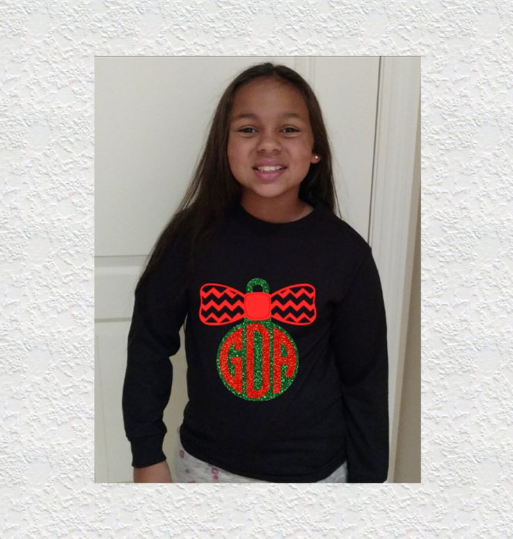 Kids Monogrammed Christmas Shirt|Bow|Glitter Ornament|Chevron|Kids Christmas Outfit|Holiday Outfit|Kids Christmas Tee|Monogram Christmas Tee by GavinsAllyeDesigns on Etsy