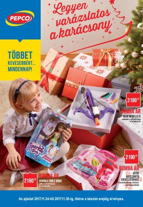 PEPCO Akciós Újság 2017 november 24-30-ig: Legyen varázslatos a karácsony a Pepco-val, játékok, cipzáras pénztárca, pulóver, póló, gyertya, karácsonyfa díszek és még sok más ajánlat ebben az 5 oldalas Pepco katalógusban.