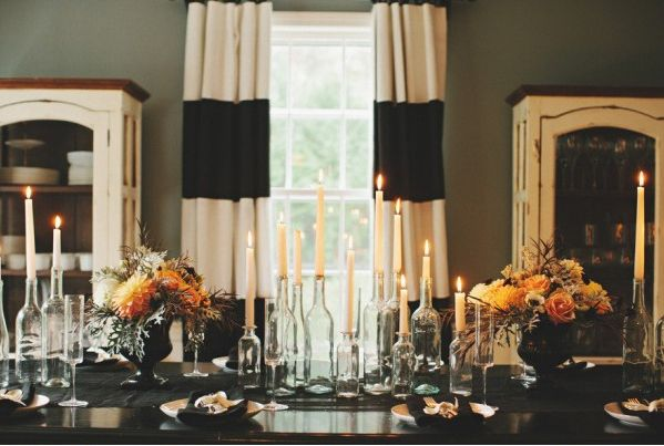 Candles in Glass Bottles | 24 Beautiful And Stylish Ways To Decorate For Halloween
