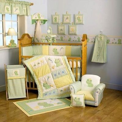 Lambs & Ivy FROGGY TALES Frog Prince GREEN Plaid NURSERY Crib Skirt / Dust Ruffle Valance Neutral Nursery Boys Nursery