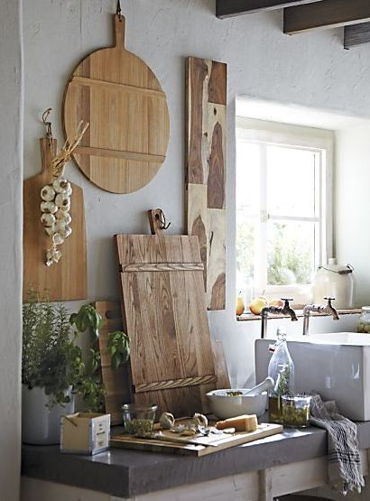 farmhouse style *where does one find such amazing cutting boards?*
