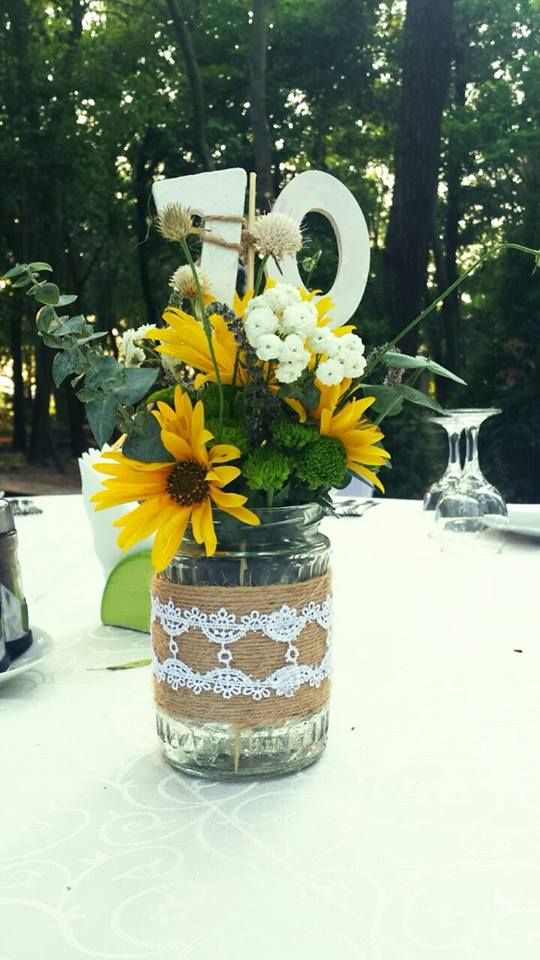 Custom made table numbers and jar decorations