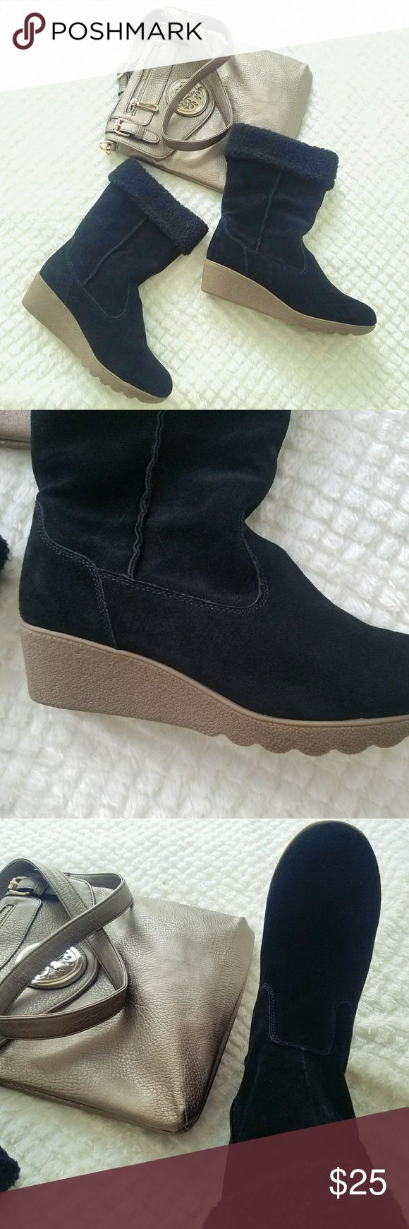 Black Suede Wedge Boots Size 10B NWOT Lands' End brand new Booties size 10B, great condition and very warm! Perfect and comfy for a cold day. Suede and Sterling with comfy and warm lining and a fashionable wedge. Lands' End Shoes Ankle Boots & Booties