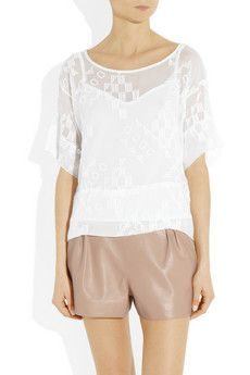 Haines embroidered silk-chiffon top by Kain