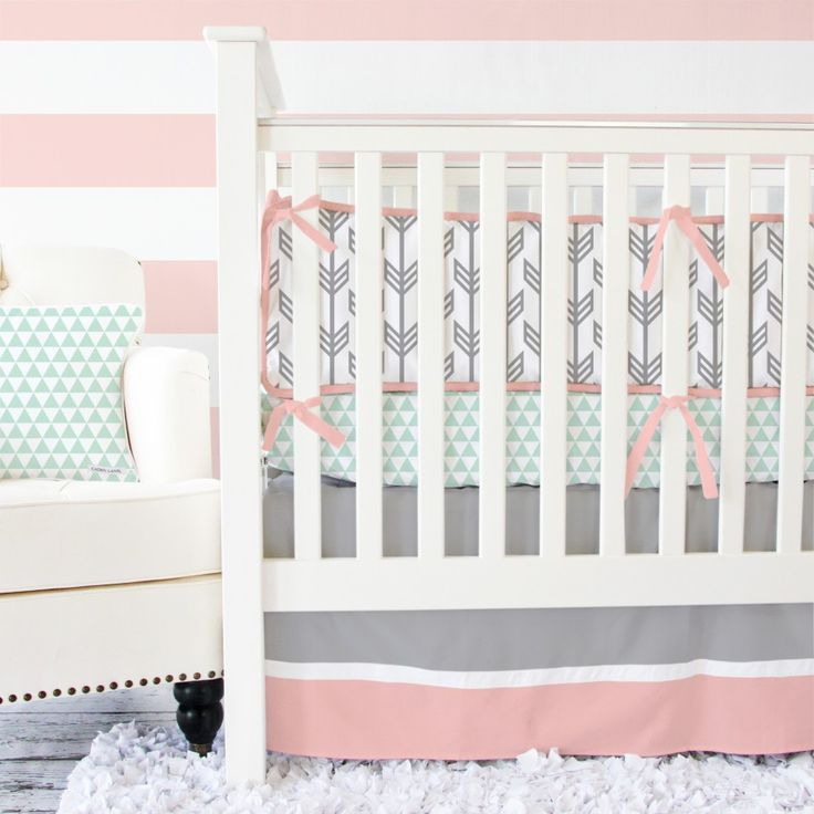 Eclectic Tribal Print Bedding for Flashing Nuance Inside Bedroom : Smooth Baby Girl Bedroom Furnished With White Crib And Studded Chair Also Furry Carpet And Decorated With Tribal Bedding Set
