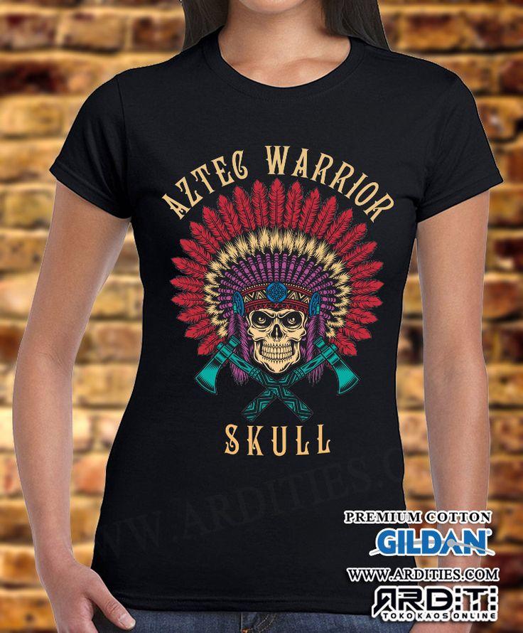 Jual Kaos Aztec Warrior Skull CW Kaos bergambar kepala tengkorak pejuang Suku…