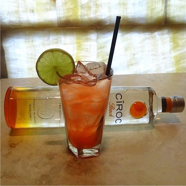 Ciroc Peach Cooler @ Texas de Brazil: Ciroc Peach, cranberry juice, pineapple juice, ginger ale, lime juice