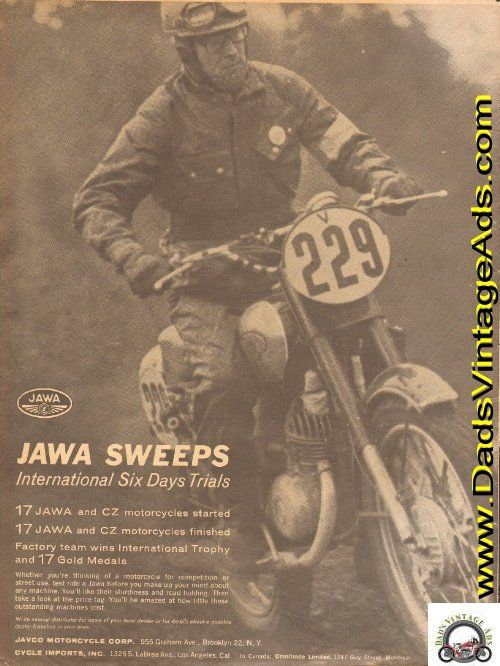 17 Jawa and CZ motorcycles started, 17 Jawa and CZ motorcycles finished. Factory team wins International Trophy and 17 Gold Medals.   Original, Vintage Magazine Ad  Size: Approx. 8 x 10 1/2 (20 cm x 27 cm).  Condition: Good   d63aa14