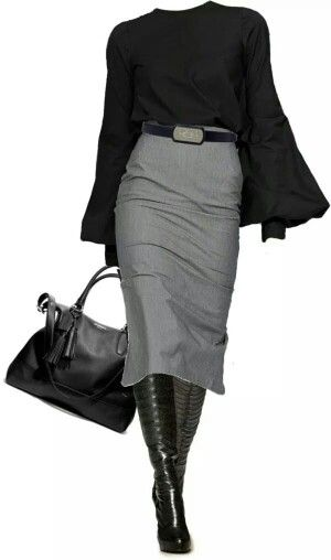 Black Blouse + Grey Pencil Skirt