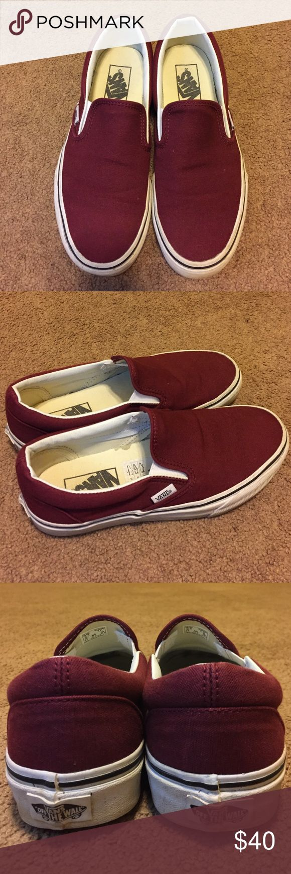 Maroon Slip on Vans Great condition  Ask any questions you may have in the comments  Add to a bundle to get to a discount  No trades Vans Shoes Sneakers