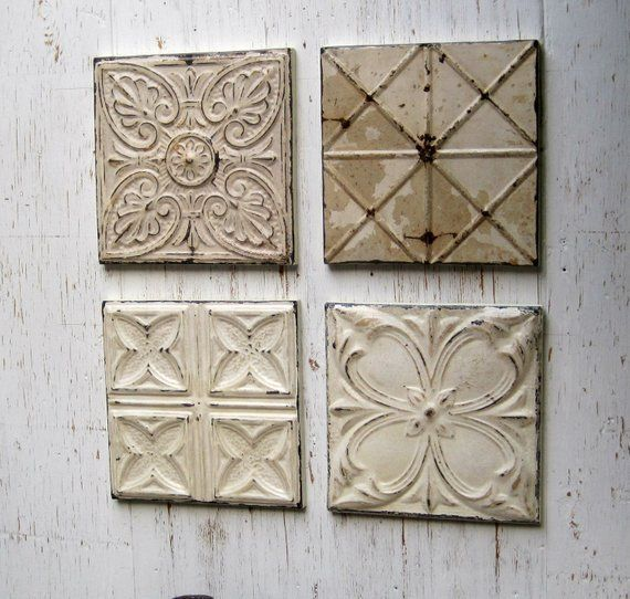 Tin Ceiling Tile Set Of 4 12 X 12 Framed Antique Architecture Salvage Old Original Paints Rustic Decor Shabby Dingy Off Whites Tin Ceiling Tiles Rustic Decor Tiles