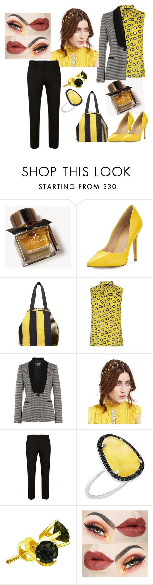 """Bold in Yellow"" by preshas-jas ❤ liked on Polyvore featuring Burberry, Charles by Charles David, Pierre-Louis Mascia, Boutique Moschino, Jennifer Behr and Christina Debs"