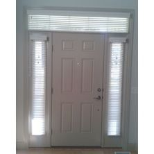 Sidelight window treatments for windows next to front door. This also shows a transom window with blinds above the door.  Sidelight blinds info: http://bellagiowindowfashions.blogspot.com/2015/10/sidelight-blinds-next-to-front-door-can.html