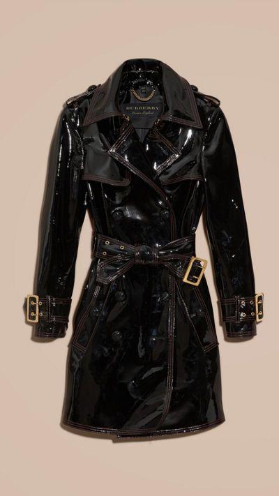 Schwarz Ungefütterter Trenchcoat aus Lackleder 4