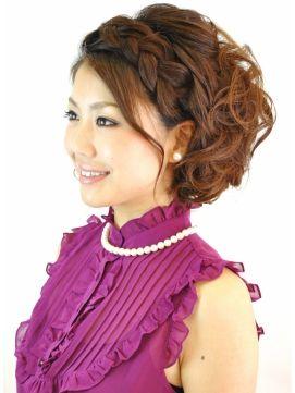 ブリエ☆結婚式スタイル☆編み込みナチュラルサイドアップ