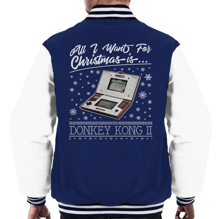 Now available on our store: All I Want For Ch... Check it out here! http://www.coto7.com/products/all-i-want-for-christmas-is-donkey-kong-ii-mens-varsity-jacket?utm_campaign=social_autopilot&utm_source=pin&utm_medium=pin