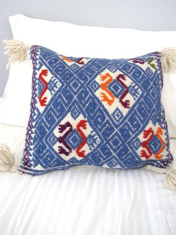 Wool Mexican Pillow Cover | Embroidered | Blue | Chiapas Bazaar | Handmade Mexican Blouses, Accessories & Home Decor from Rural Artisans