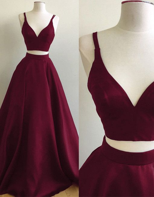 Burgundy two pieces long prom gown, simple v neck burgundy prom dress, formal dress