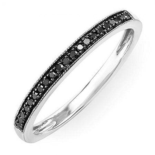0.12 Carat (ctw) 10K Gold Round Black Real Diamond Ladies Wedding Anniversary Millgrain Stackable Band