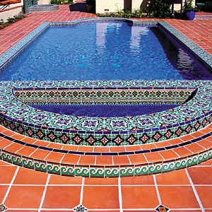 decorative terra cotta swimming pool tile pool ccc. beautiful ideas. Home Design Ideas