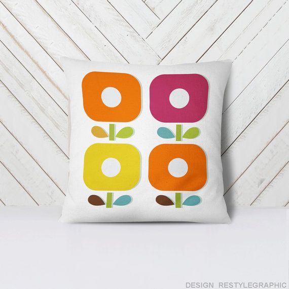 The minimalist pillow covers will be bright accent for nursery, living room, bedroom etc. This pillow design created by me in my home studio. It can not be bought anywhere else.  The pattern is printed individually for you, not the factory cloth.  SIZE: 18 x 18 inches (46x46 cm)  VARIATIONS: - Pillow with insert - Pillowcase only  FABRIC: The polycotton fleece is a fabric often used for sweatshirts, blankets and other cozy things, so it's really perfect for pillows!  Bright colors such as in…