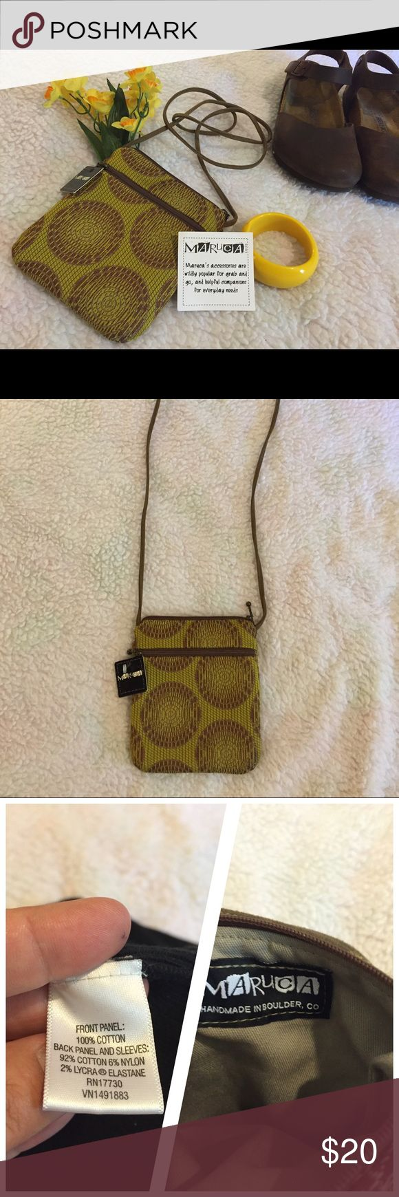 Adorable mini festival cross body bag NWT  Perfect cross body festival bag by Maruca  Handmade in Colorado  Measures 6x7  Zippered from pouch and zippered enclosure  Made of sturdy canvas and brocade material  Strap is faux suede  Maruca Bags Crossbody Bags