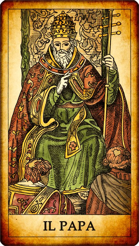 The Pope. N. 5. A pope seated on a throne with one hand supporting the ministry, and the other gives a blessing to the two figures kneeling before him. Faithful and loyal person you can count on. Reversed card: seek the approval of others, do not make original decisions.