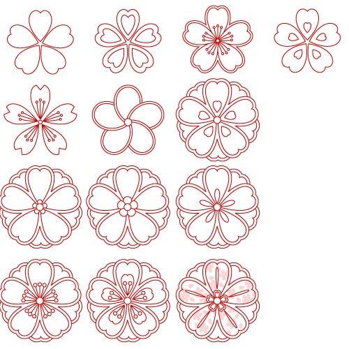 桜和柄文様パーツ無料素材一覧