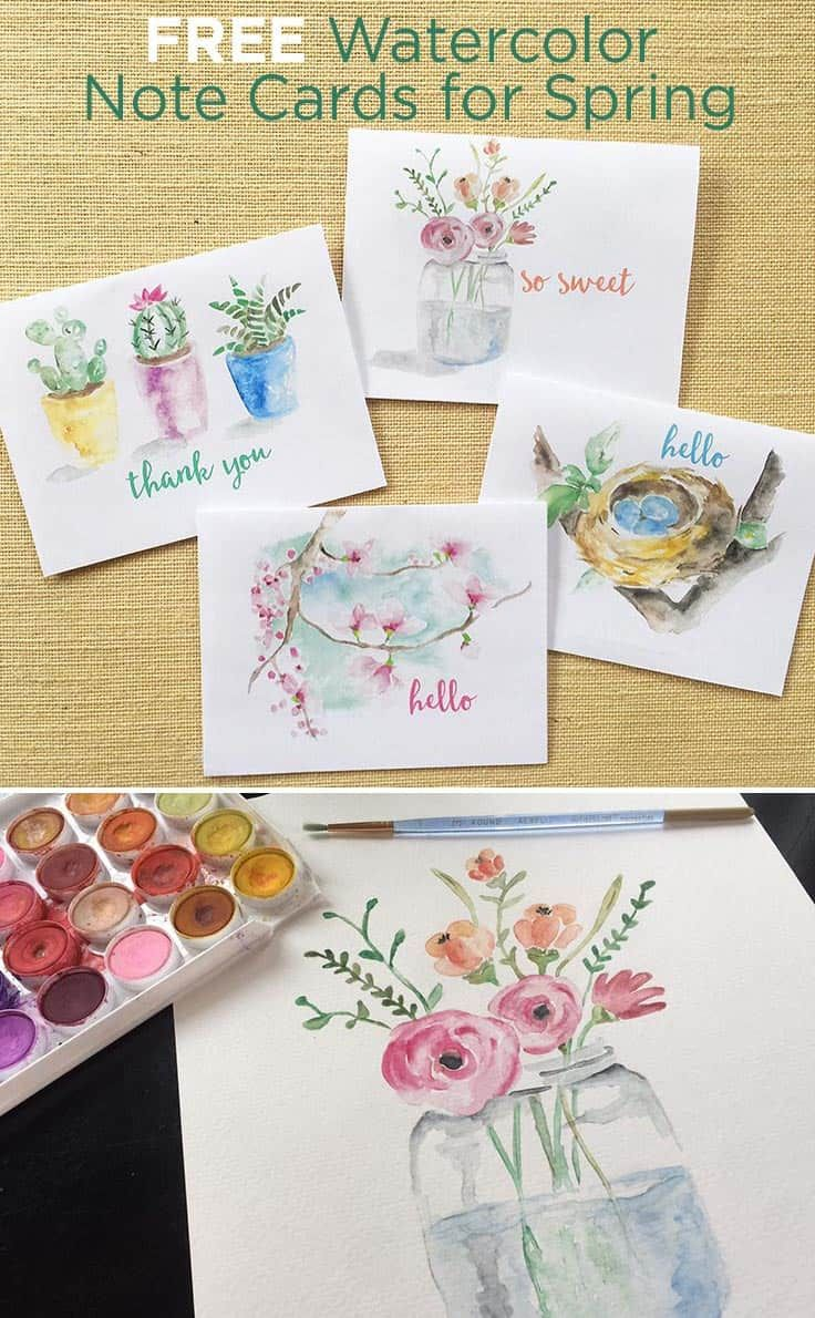 Free Spring Watercolor Note Cards Printable Greeting Cards Free