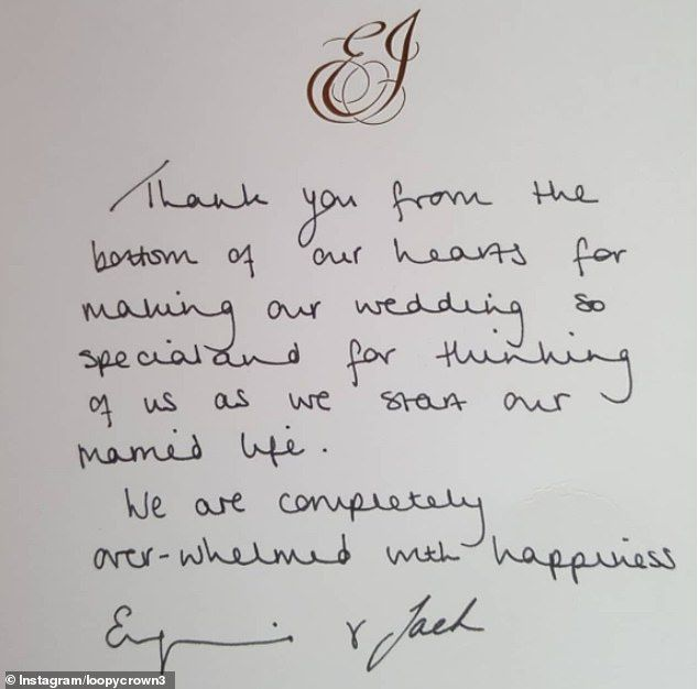 Eugenie And Jack Say Overwhelmed With Happiness In Thank You