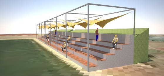 Shade structure at a soccer playground