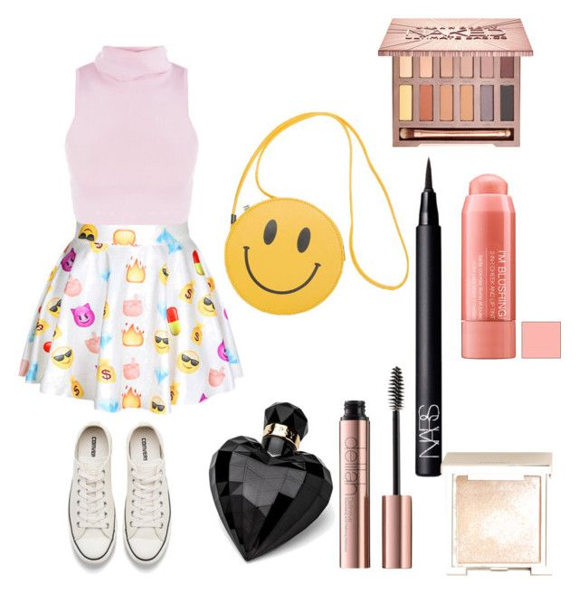 """Untitled #12"" by sofiaskvrekova on Polyvore featuring Converse, Lipsy, Urban Decay, NARS Cosmetics and Jouer"