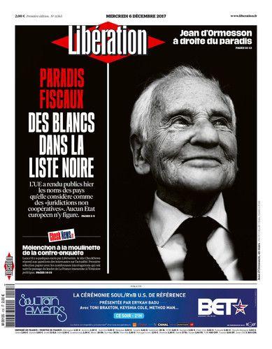 Une libé Jean D'Ormesson mercredi 6 décembre 2017