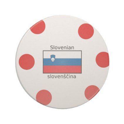 Slovenian Language And Slovenia Flag Design Drink Coaster - home gifts cool custom diy cyo