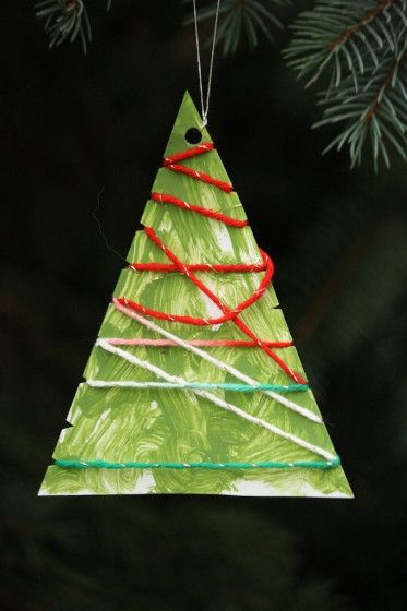 wool wrapped tree ornaments - happy hooligans