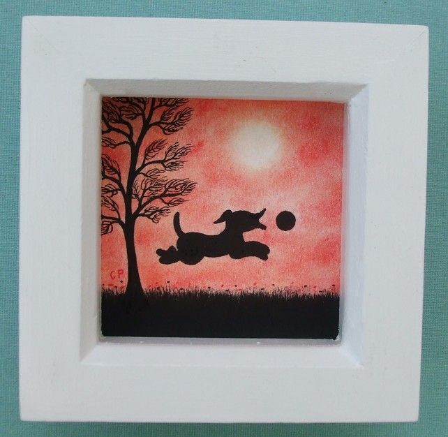 #Dog #Picture, #Framed Dog #Art, #Black Dog Gift, Dog #Silhouette #Drawing, #Kids Gift £15.00