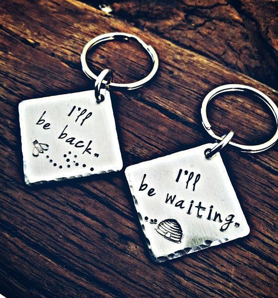 Set of two long distance relationship, hand stamped keychains. Deployment gift. out of town worker. keychain set, long distance love