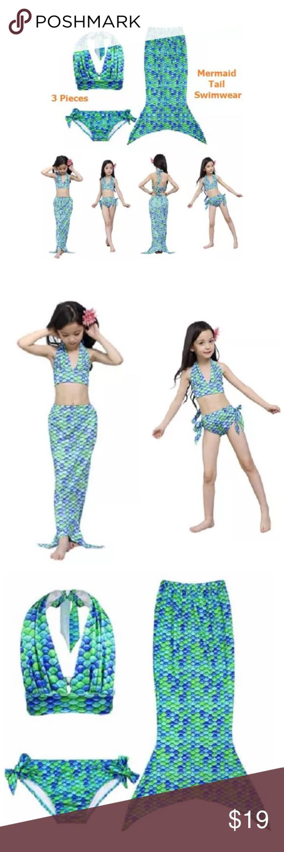 [Set] Mermaid Tail Swimwear Bikini 3 Pcs Worn once.( 1 x Top +1 x Bottom +1 x Mermaid Tail ) Size 130 Ages Advise: 7-8Years ,Bust: 54cm Top length: 23cm, Tail waist: 50cm ,Tail length: 91cm. Pefect mermaid costume make your cute girl as a real mermaid princess. Three pieces swimsuit can make little girl in different styles. High quality polyamide and elasthanne material to wear in super confort. Material: Nylon Handmade Swim
