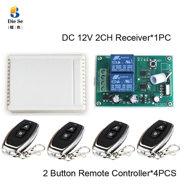 433mhz Remote Control Switch Dc 12v 2ch Relay Receiver Module Rf
