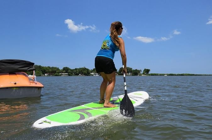 1-Hour Stand-Up Paddle Board Rental in Daytona Beach Have an adventure in Rose Bay on a stand-up paddle board with this 1-hour rental in Daytona Beach. Try this fun mode of water transportation and enjoy the beautiful backwaters of Rose Bay. On your paddle board, see friendly dolphins and gentle manatees with this 1-hour rental.Decide the best time for your adventure on the water. Then, go to the dock of the Hidden Treasure Tiki Bar & Grill, located at 5993 South Ridgewoo...