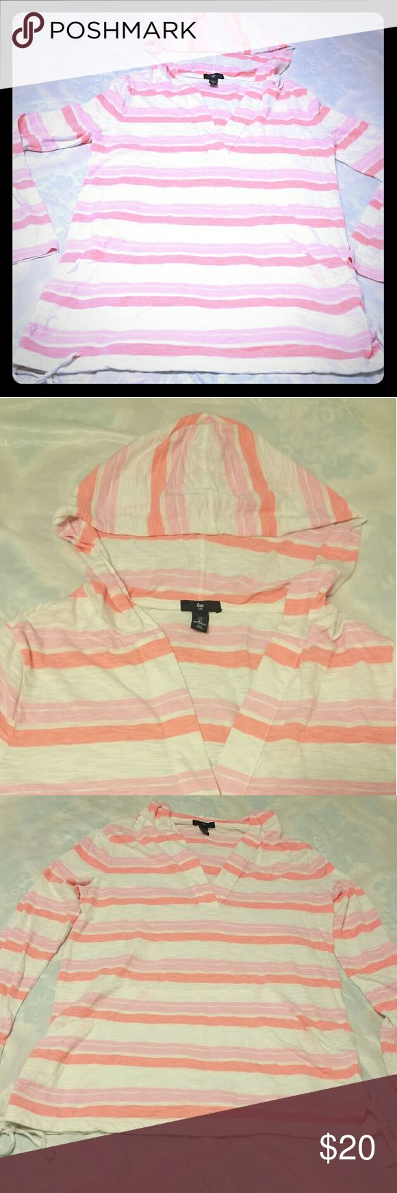 Gap long sleeve hoodie light pull over size large Gap light pullover hooded long sleeve shirt bright orange pink and white size large ladies gap Jackets & Coats Blazers