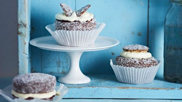 Lamington angels from  Cupcakes by Pamela Clark and Australian Women's Weekly