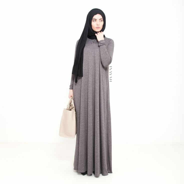 INAYAH | Grey Flare #Abaya + Black Jersey #Hijab www.inayahcollction.com