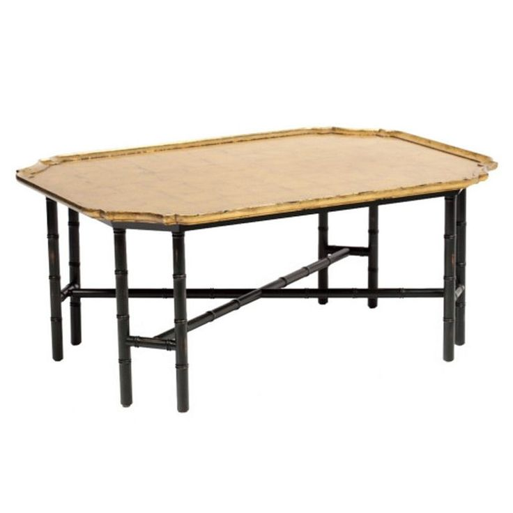 Long Bamboo Coffee Table: Kittinger Coffee Table Gilded Gold Leaf Top Ebony Bamboo