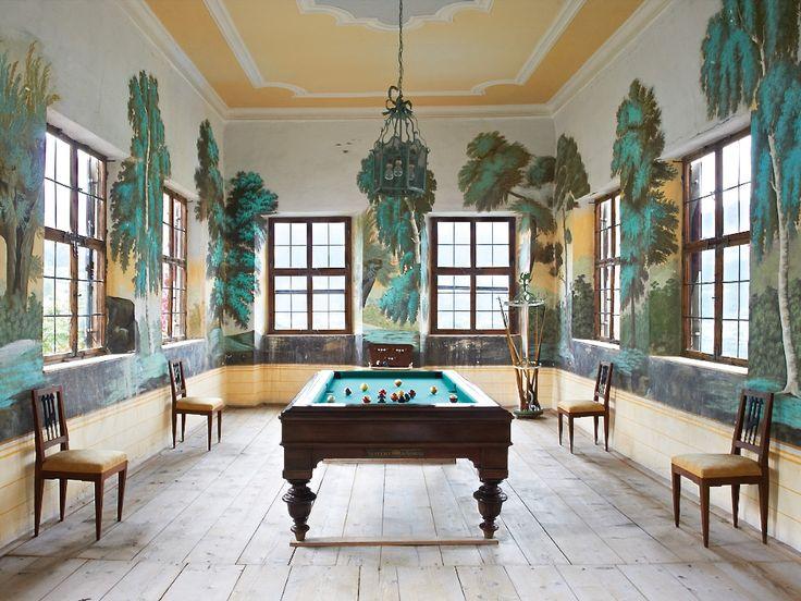 chicest billiard room cherbourg castle photo gianni for elle decor