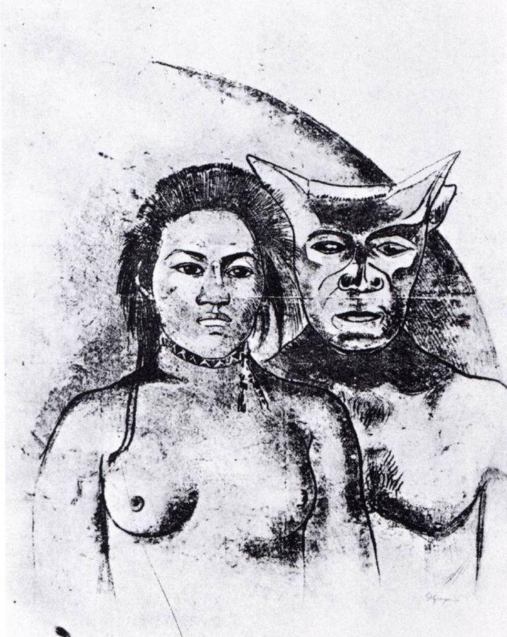 Γυναίκα και κακό πνεύμα στην Ταϊτή (1900) Χαρακτική μονοτυπία  Ιδιωτική συλλογή